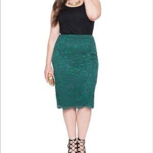 Eloquii Green Lace Overlay Pencil Skirt